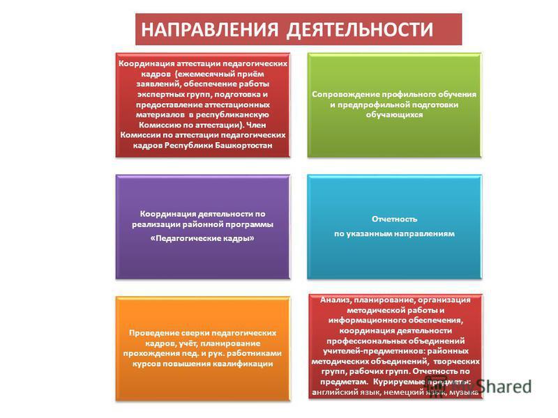Координация аттестации педагогических кадров (ежемесячный приём заявлений, обеспечение работы экспертных групп, подготовка и предоставление аттестационных материалов в республиканскую Комиссию по аттестации). Член Комиссии по аттестации педагогически