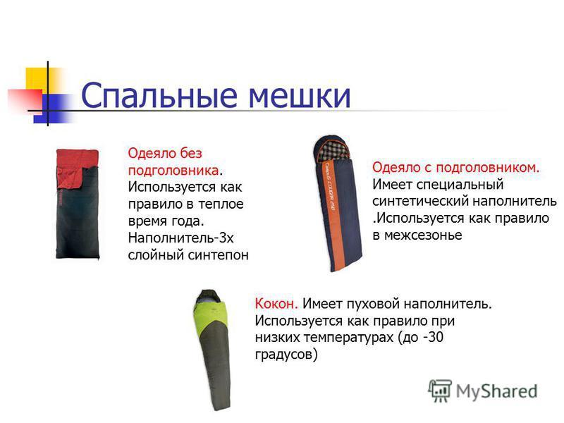 Спальные мешки Одеяло без подголовника. Используется как правило в теплое время года. Наполнитель-3 х слойный синтепон Одеяло с подголовником. Имеет специальный синтетический наполнитель.Используется как правило в межсезонье Кокон. Имеет пуховой напо