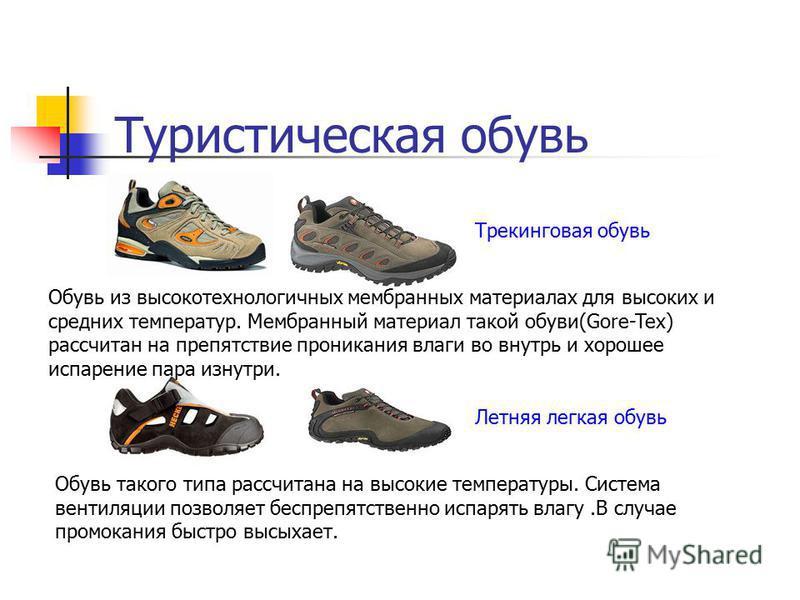 Туристическая обувь Обувь из высокотехнологичных мембранных материалах для высоких и средних температур. Мембранный материал такой обуви(Gore-Tex) рассчитан на препятствие проникания влаги во внутрь и хорошее испарение пара изнутри. Обувь такого типа