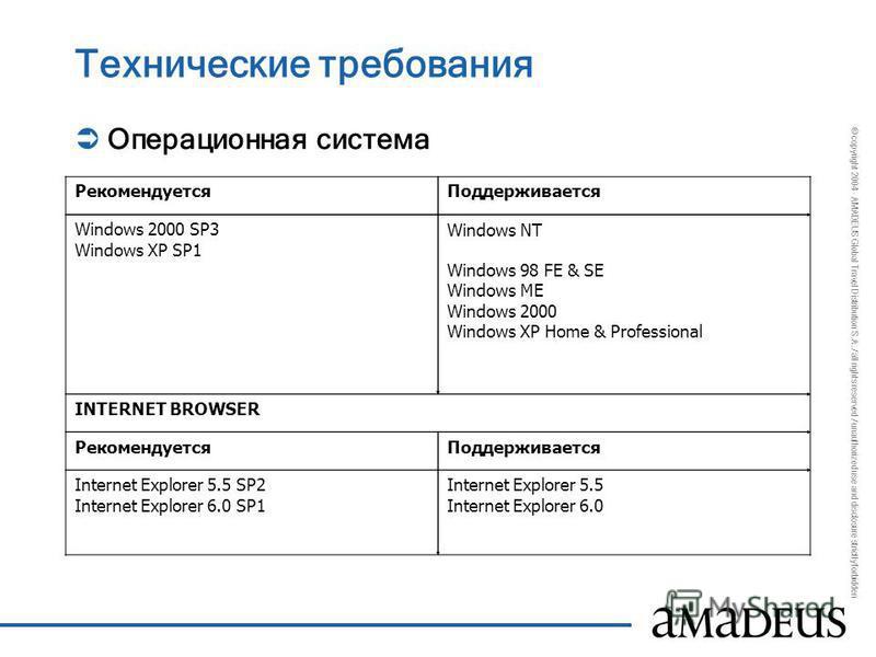 © copyright 2004 - AMADEUS Global Travel Distribution S.A. / all rights reserved / unauthorized use and disclosure strictly forbidden Технические требования Операционная система Рекомендуется Поддерживается Windows 2000 SP3 Windows XP SP1 Windows NT