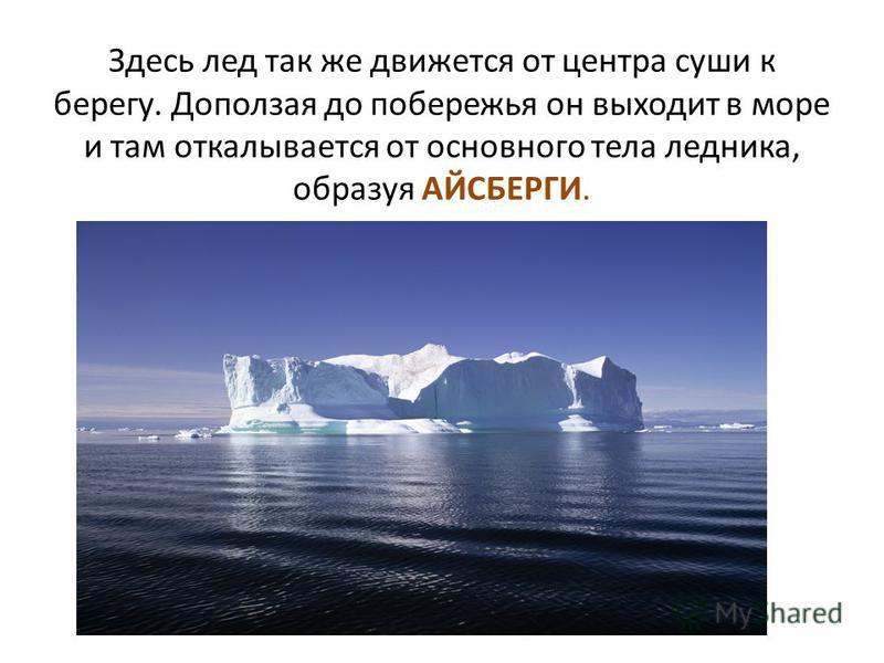 Здесь лед так же движется от центра суши к берегу. Доползая до побережья он выходит в море и там откалывается от основного тела ледника, образуя АЙСБЕРГИ.