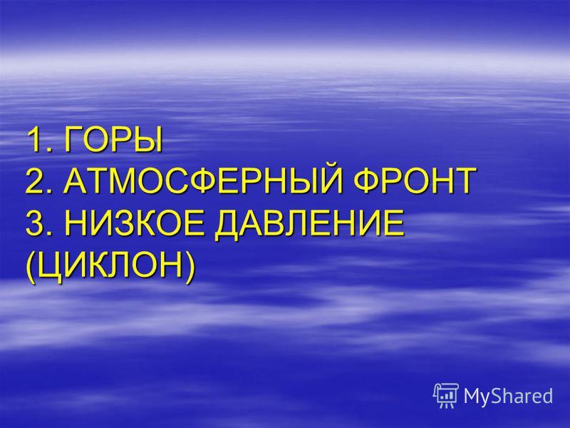 1. ГОРЫ 2. АТМОСФЕРНЫЙ ФРОНТ 3. НИЗКОЕ ДАВЛЕНИЕ (ЦИКЛОН)
