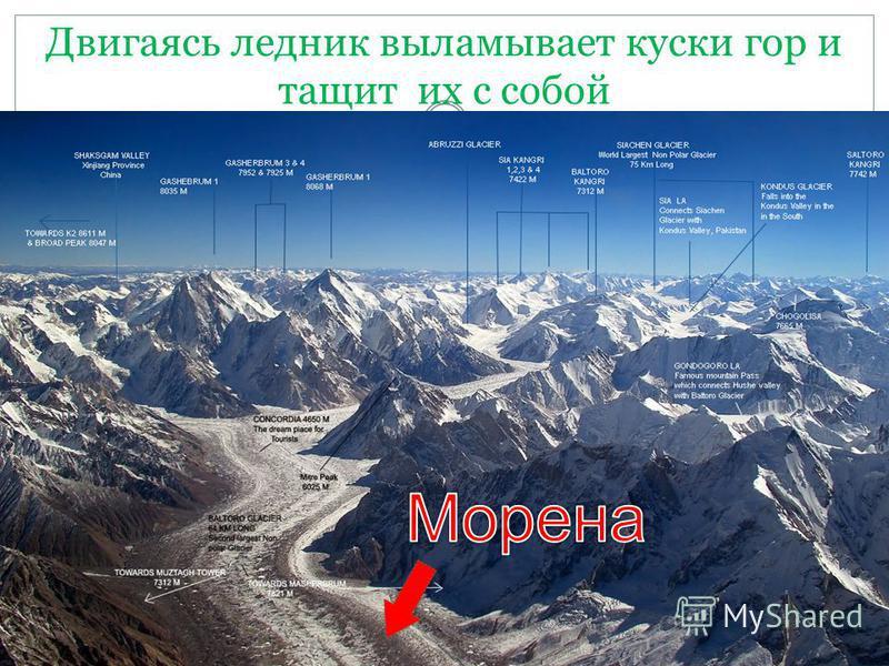 Двигаясь ледник выламывает куски гор и тащит их с собой