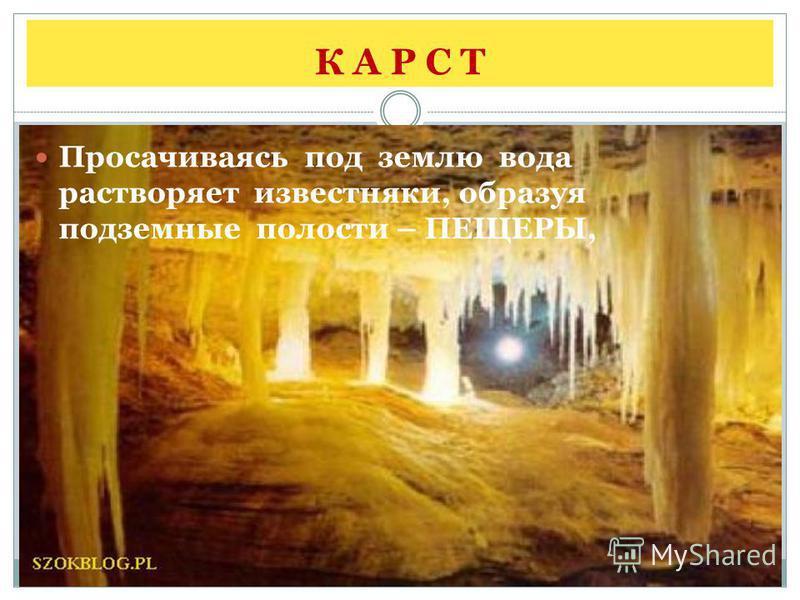 К А Р С Т Просачиваясь под землю вода растворяет известняки, образуя подземные полости – ПЕЩЕРЫ,