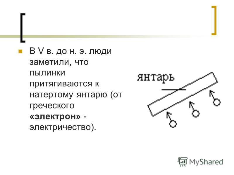 В V в. до н. э. люди заметили, что пылинки притягиваются к натертому янтарю (от греческого «электрон» - электричество).