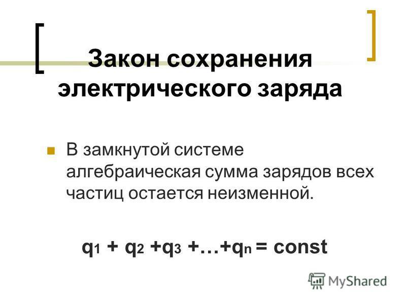 Закон сохранения электрического заряда В замкнутой системе алгебраическая сумма зарядов всех частиц остается неизменной. q 1 + q 2 +q 3 +…+q n = const