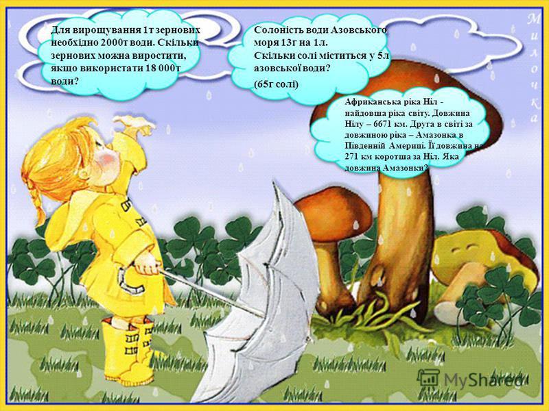 Солоність води Азовського моря 13г на 1л. Скільки солі міститься у 5л азовської води? (65г солі) Для вирощування 1т зернових необхідно 2000т води. Скільки зернових можна виростити, якщо використати 18 000т води? Африканська ріка Ніл - найдовша ріка с