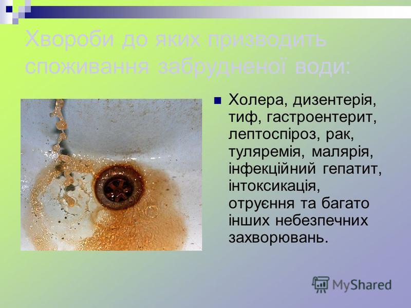 Хвороби до яких призводить споживання забрудненої води: Холера, дизентерія, тиф, гастроентерит, лептоспіроз, рак, туляремія, малярія, інфекційний гепатит, інтоксикація, отруєння та багато інших небезпечних захворювань.
