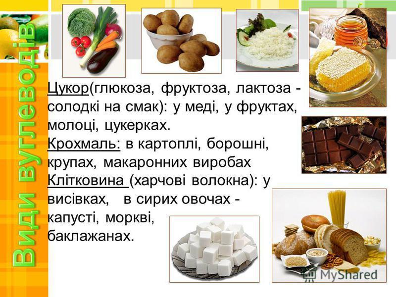 Цукор(глюкоза, фруктоза, лактоза - солодкі на смак): у меді, у фруктах, молоці, цукерках. Крохмаль: в картоплі, борошні, крупах, макаронних виробах Клітковина (харчові волокна): у висівках, в сирих овочах - капусті, моркві, баклажанах.