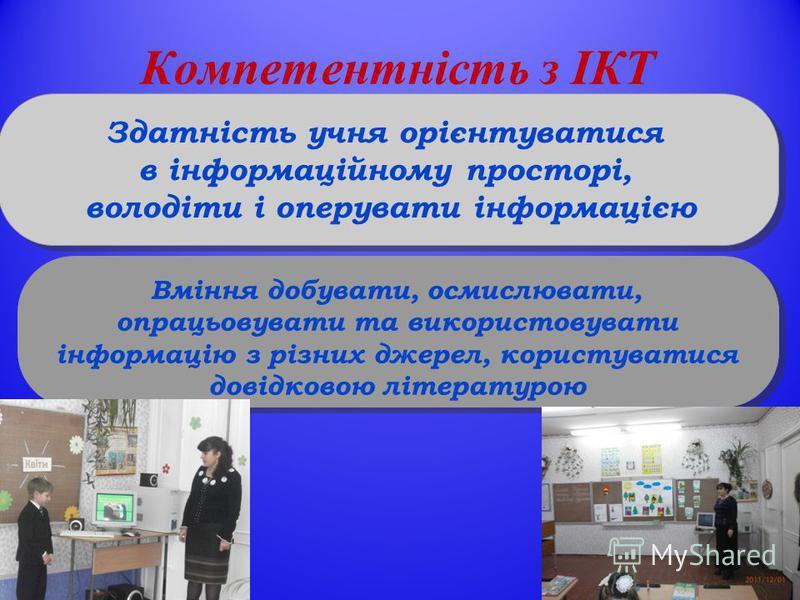 Компетентність з ІКТ Здатність учня орієнтуватися в інформаційному просторі, володіти і оперувати інформацією Вміння добувати, осмислювати, опрацьовувати та використовувати інформацію з різних джерел, користуватися довідковою літературою