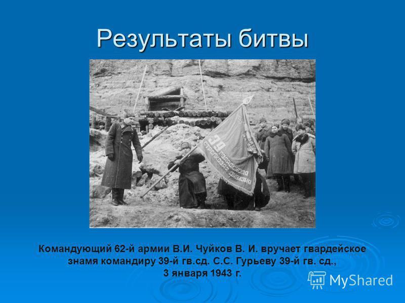Результаты битвы Командующий 62-й армии В.И. Чуйков В. И. вручает гвардейское знамя командиру 39-й гв.сд. С.С. Гурьеву 39-й гв. сд., 3 января 1943 г.