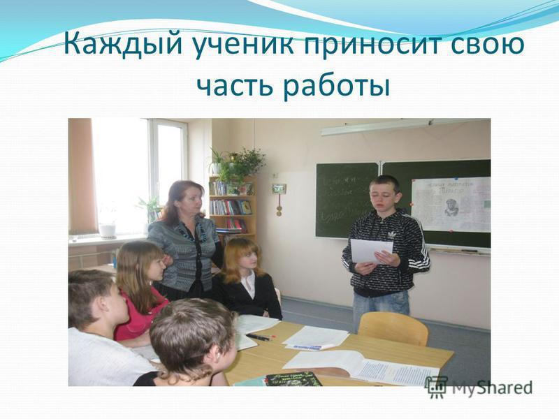 Каждый ученик приносит свою часть работы