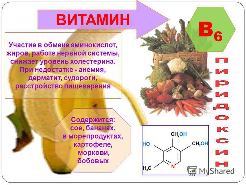 Участие в обмене аминокислот, жиров, работе нервной системы, снижает уровень холестерина. При недостатке - анемия, дерматит, судороги, расстройство пищеварения Содержится: сое, бананах, в морепродуктах, картофеле, моркови, бобовых B6B6 ВИТАМИН