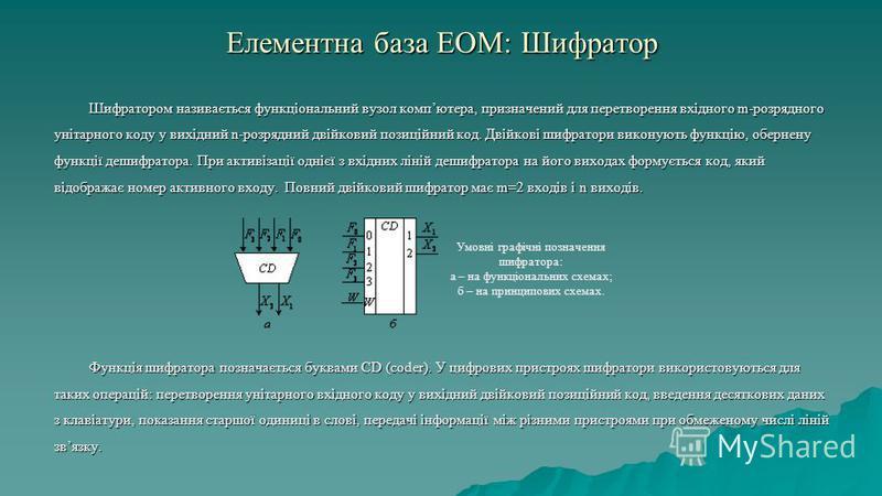 Елементна база ЕОМ: Шифратор Шифратором називається функціональний вузол компютера, призначений для перетворення вхідного m-розрядного унітарного коду у вихідний n-розрядний двійковий позиційний код. Двійкові шифратори виконують функцію, обернену фун