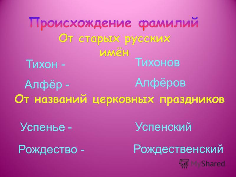 Тихон - Алфёр - Тихонов Алфёров Успенье - Успенский Рождество - Рождественский