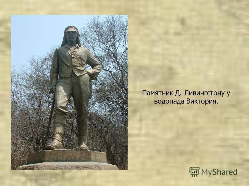 Памятник Д. Ливингстону у водопада Виктория.
