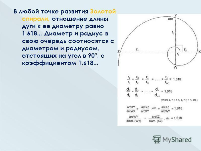 В любой точке развития Золотой спирали, отношение длины дуги к ее диаметру равно 1.618... Диаметр и радиус в свою очередь соотносятся с диаметром и радиусом, отстоящих на угол в 90°, с коэффициентом 1.618...