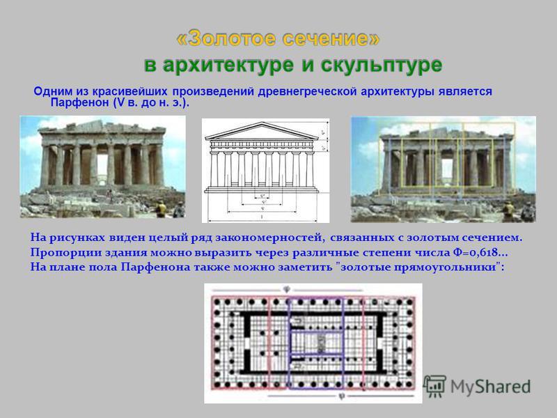 Одним из красивейших произведений древнегреческой архитектуры является Парфенон (V в. до н. э.). На рисунках виден целый ряд закономерностей, связанных с золотым сечением. Пропорции здания можно выразить через различные степени числа Ф=0,618... На пл
