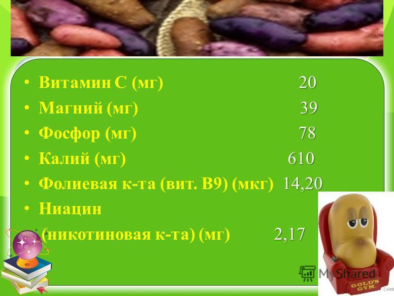 20 Витамин С (мг) 20 39 Магний (мг) 39 78 Фосфор (мг) 78 610 Калий (мг) 610 14,20 Фолиевая к-та (вит. В9) (мкг) 14,20 Ниацин 2,17 (никотиновая к-та) (мг) 2,17
