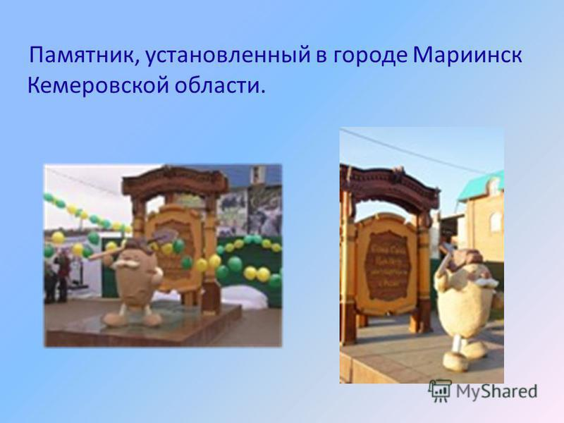 Памятник, установленный в городе Мариинск Кемеровской области.