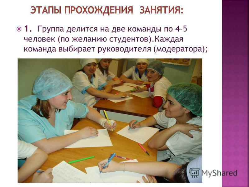 1. Группа делится на две команды по 4-5 человек (по желанию студентов).Каждая команда выбирает руководителя (модератора);