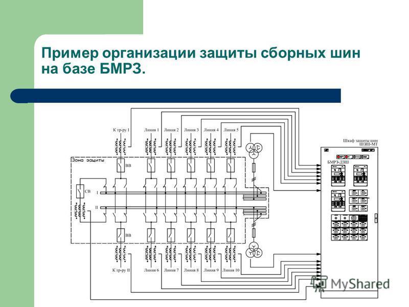 Пример организации защиты сборных шин на базе БМРЗ.