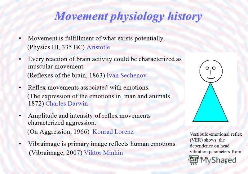2 Movement physiology history Movement is fulfillment of what exists potentially. (Physics III, 335 BC) Aristotle Every reaction of brain activity could be characterized as muscular movement. (Reflexes of the brain, 1863) Ivan Sechenov Reflex movemen