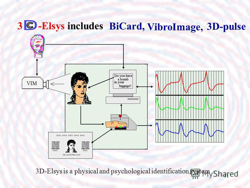 11 3 -Elsys includes BiCard, VibroImage, 3D-pulse 3D-Elsys is a physical and psychological identification system