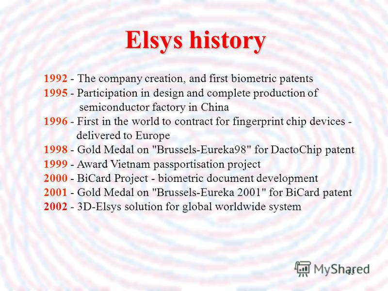 13 1992 - The company creation, and first biometric patents 1995 - Participation in design and complete production of semiconductor factory in China 1996 - First in the world to contract for fingerprint chip devices - delivered to Europe 1998 - Gold