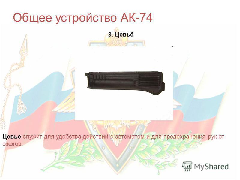 Общее устройство АК-74 8. Цевьё Цевье служит для удобства действий с автоматом и для предохранения рук от ожогов.