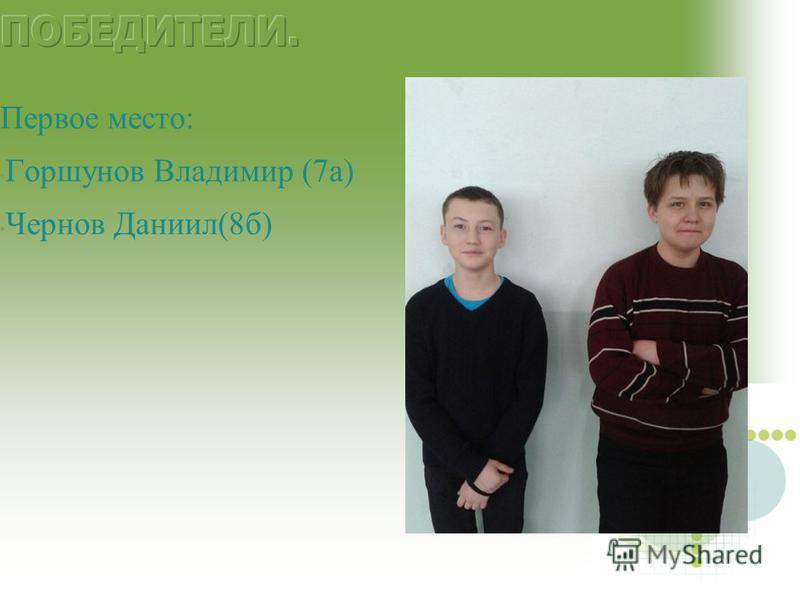 Первое место: Горшунов Владимир (7 а) Чернов Даниил(8 б)