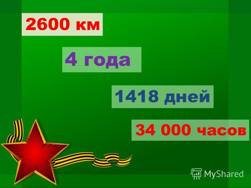 2600 км 4 года 1418 дней 34 000 часов