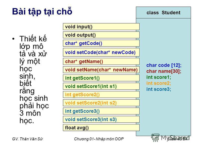GV. Thân Văn SChương 01- Nhp môn OOPSlide 43/54 Bài tp ti ch Thit k lp mô t và x lý mt hc sinh, bit rng hc sinh phi hc 3 môn hc. class Student char code [12]; char name[30]; int score1; int score2; int score3; void input() void output() char* getCode