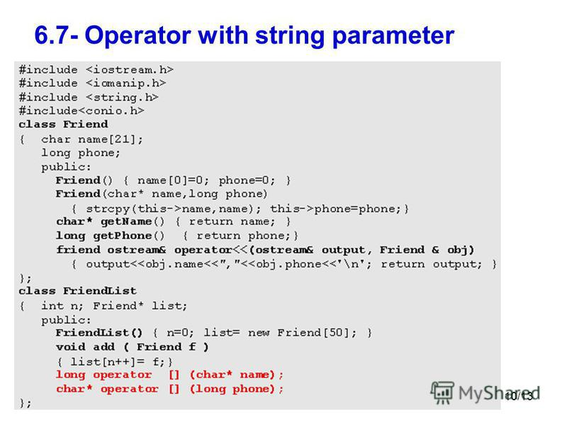 10/13 6.7- Operator with string parameter