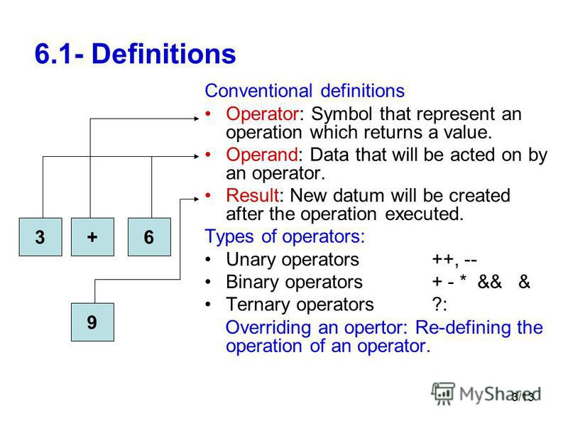 3/13 6.1- Definitions Conventional definitions Operator: Symbol that represent an operation which returns a value. Operand: Data that will be acted on by an operator. Result: New datum will be created after the operation executed. Types of operators: