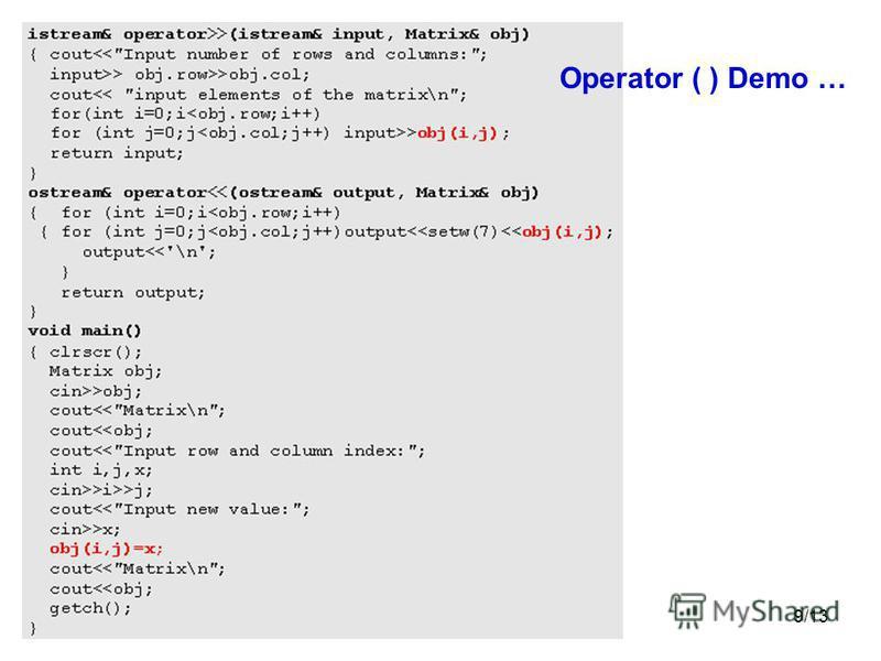 9/13 Operator ( ) Demo …