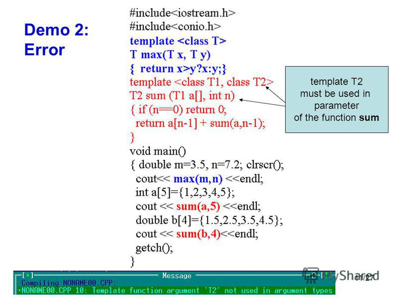11/27 Demo 2: Error template T2 must be used in parameter of the function sum