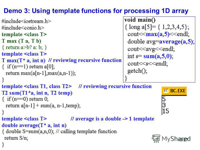 127 chapter 9 template functions and 13 1327 demo 3 using template functions for processing 1d array maxwellsz