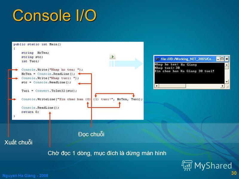 Nguyen Ha Giang - 2008 30 Console I/O / F5 Xut chui Đc chui Ch đc 1 dòng, mc đích là dng màn hình
