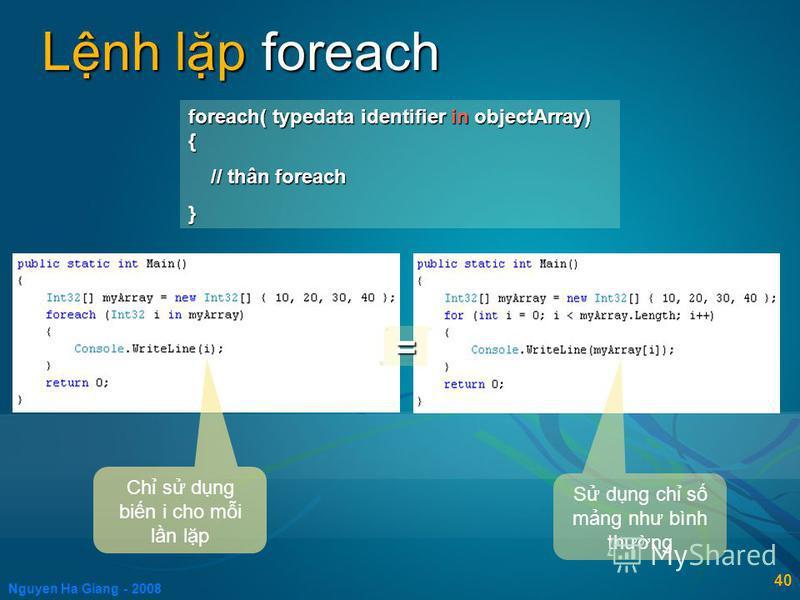 Nguyen Ha Giang - 2008 40 Lnh lp foreach foreach( typedata identifier in objectArray) { // thân foreach // thân foreach} = Ch s dng bin i cho mi ln lp S dng ch s mng như bình thưng