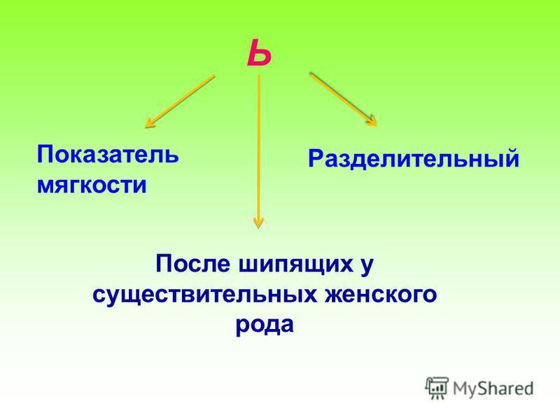 Ь Разделительный Показатель мягкости После шипящих у существительных женского рода