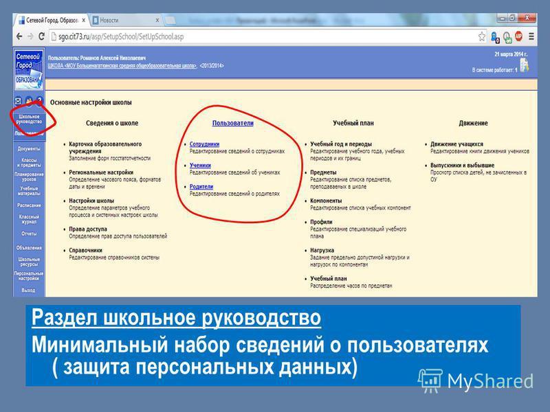 Раздел школьное руководство Минимальный набор сведений о пользователях ( защита персональных данных)