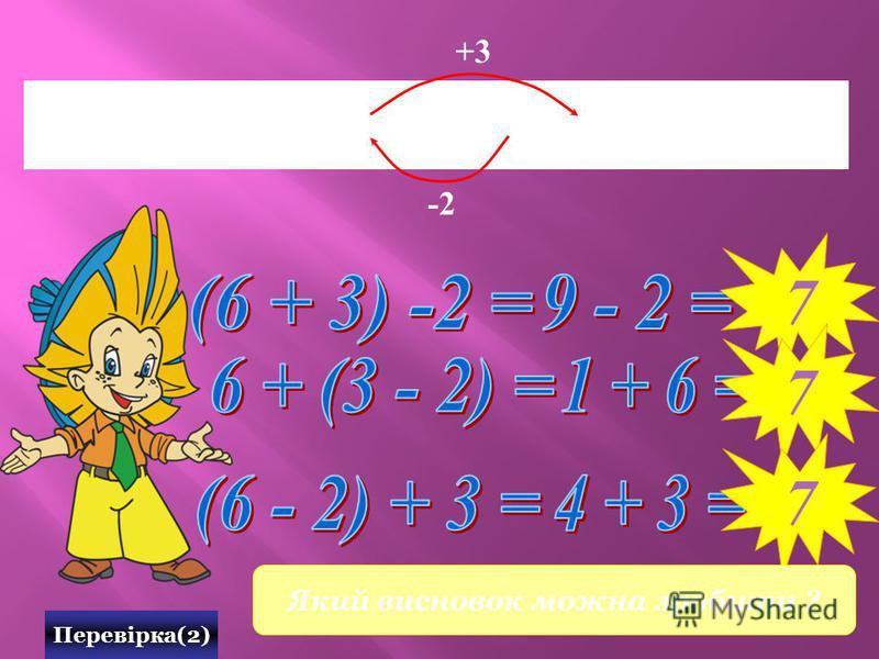 0 1 2 3 4 5 6 7 8 9 10 х Перевірка(2) -2 7 7 +3 7 Який висновок можна зробити ?