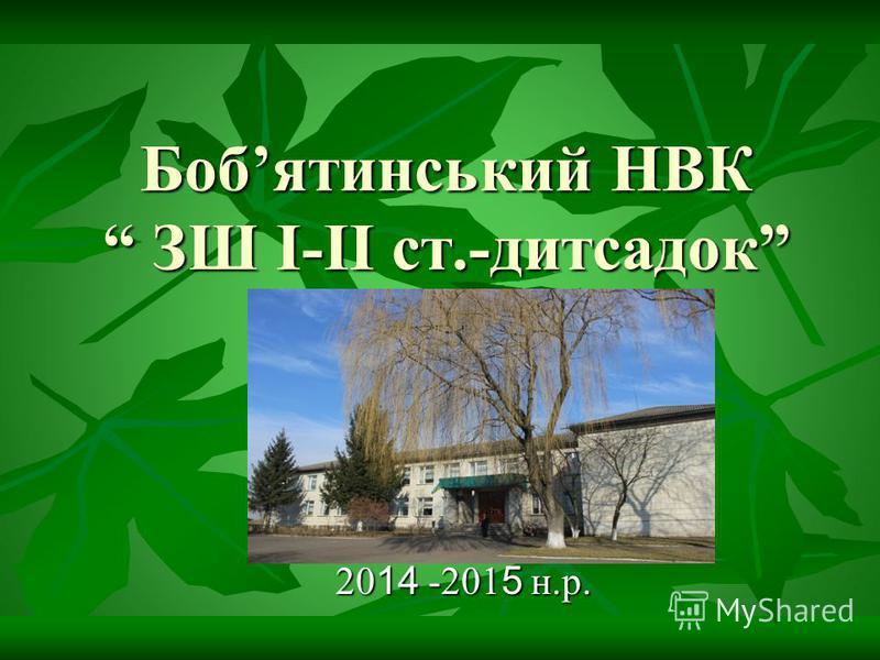 Бобятинський НВК ЗШ І-ІІ ст.-дитсадок 20 14 -201 5 н.р.