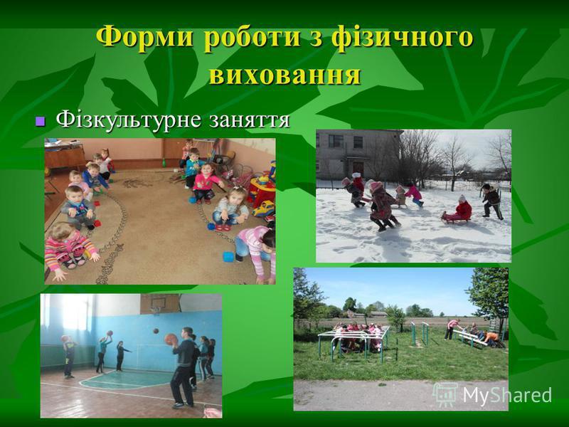 Форми роботи з фізичного виховання Фізкультурне заняття Фізкультурне заняття