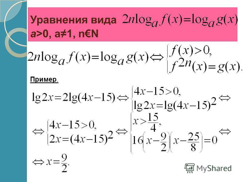 Уравнения вида a>0, a1, nN Пример.