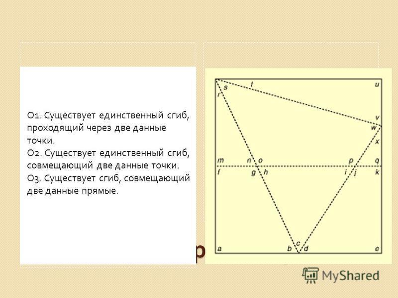 Аксиомы оригаметрии О 1. Существует единственный сгиб, проходящий через две данные точки. О 2. Существует единственный сгиб, совмещающий две данные точки. О 3. Существует сгиб, совмещающий две данные прямые.