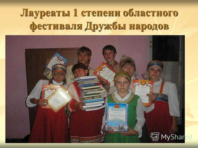Лауреаты 1 степени областного фестиваля Дружбы народов
