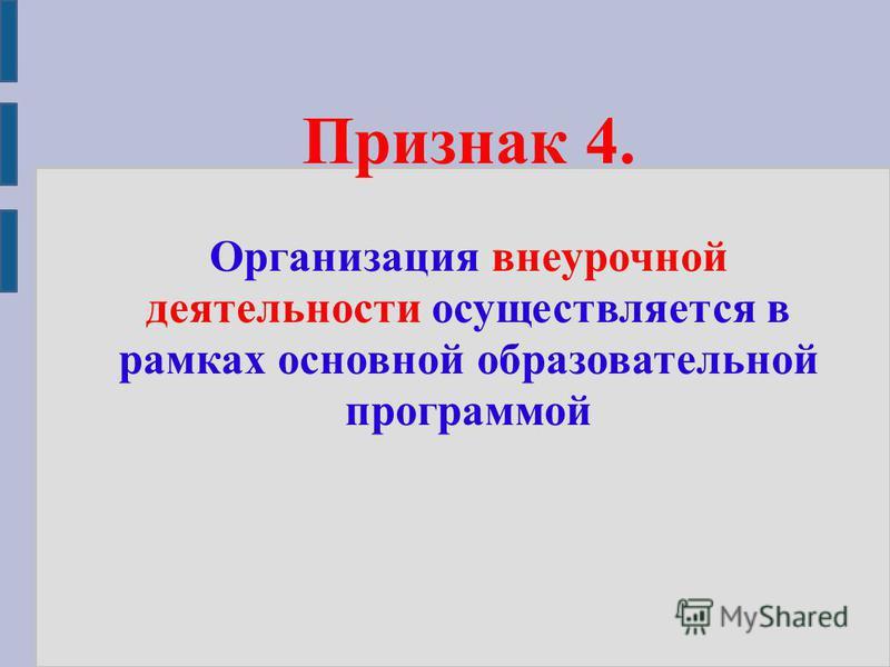 Признак 4. Организация внеурочной деятельности осуществляется в рамках основной образовательной программой