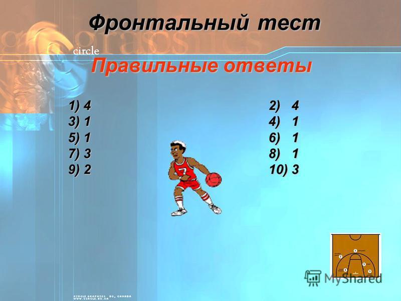 Фронтальный тест Правильные ответы 1) 42) 4 3) 14) 1 5) 16) 1 7) 38) 1 9) 210) 3